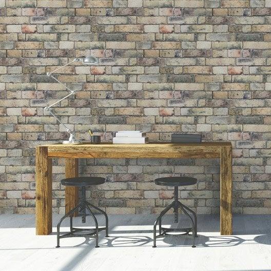 Papier peint intiss brique anglaise jaune leroy merlin - Coller du papier intisse ...