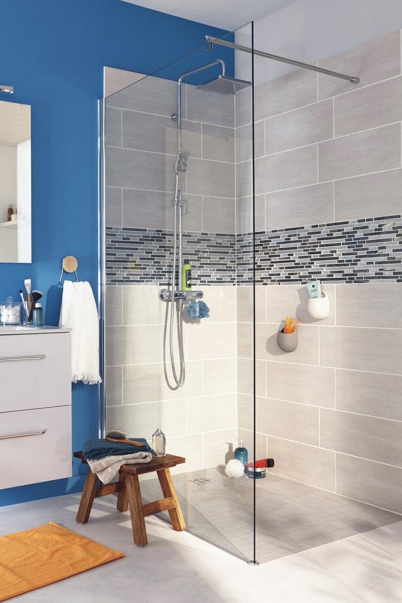 une salle de bains style actuel bleu et gris clair leroy. Black Bedroom Furniture Sets. Home Design Ideas
