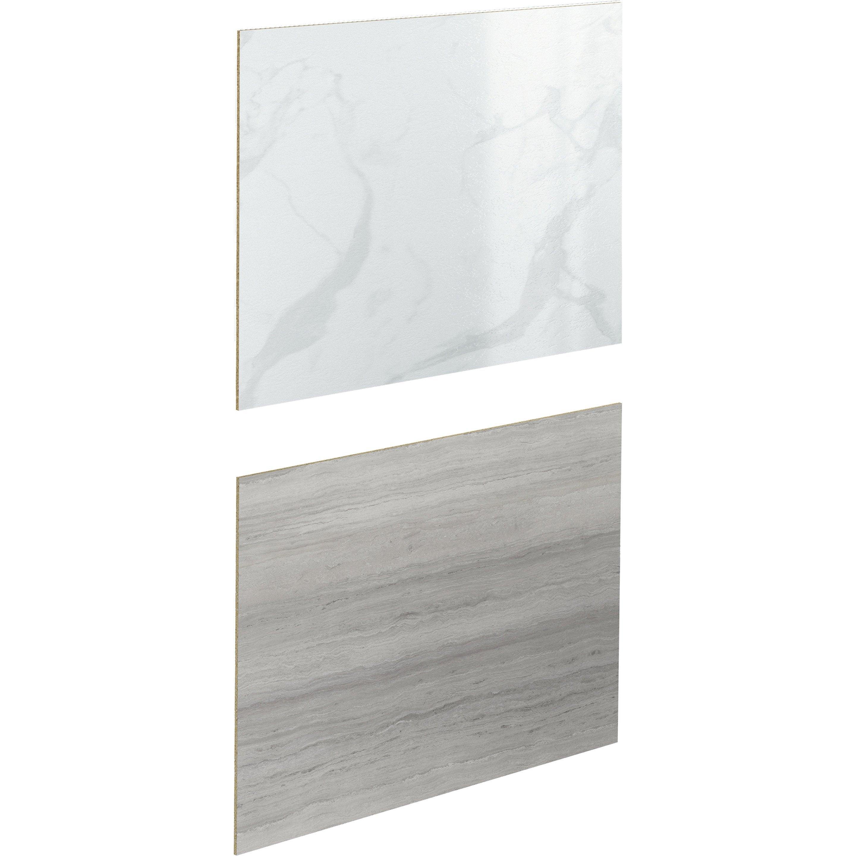 Credence Cuisine Marbre Blanc crédence stratifié effet marbre blanc/sable h.64 cm x ep.9 mm x l.300 cm