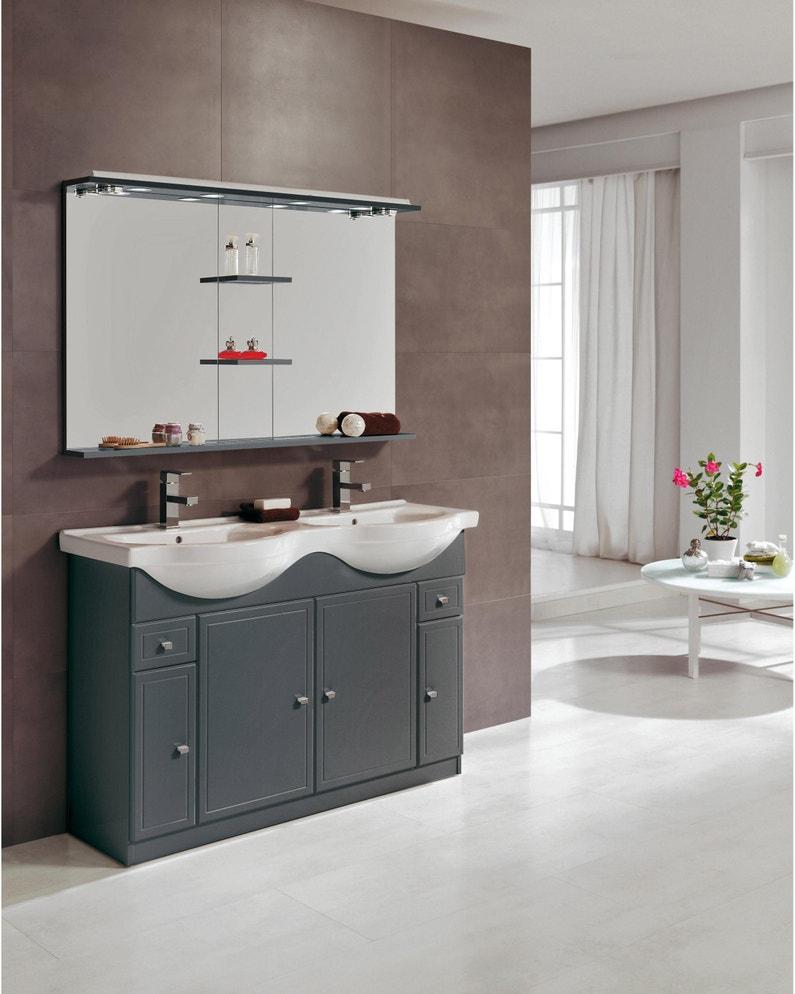 Meuble Vasque Leroy Merlin meuble double vasque l.120 x h.80 x p.35 cm, gris, galice