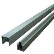 Profil de finition aluminium rainuré gris clair, H.3.2 x l.176 x P.2.4 cm