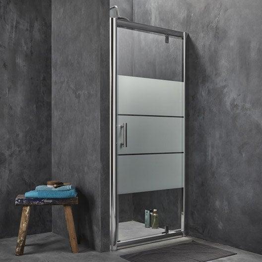 Porte de douche pivotante 86 5 90 cm profil chrom for Porte de douche 90 cm