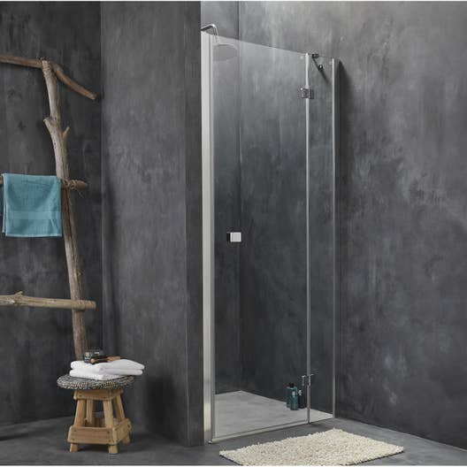 porte de douche pivotante 90 cm transparent premium2 leroy merlin. Black Bedroom Furniture Sets. Home Design Ideas