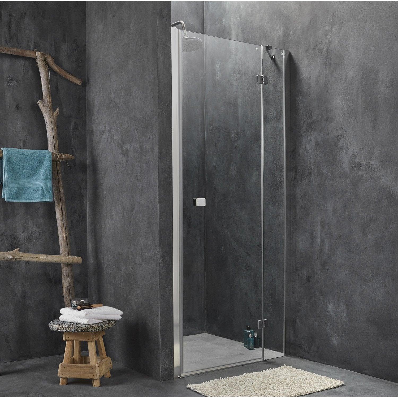 Porte de douche pivotante 90 cm, transparent, Premium2   Leroy Merlin ffe49190fd7