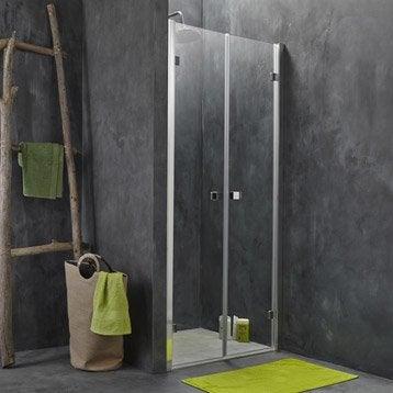Porte de douche battante 87.5/90 cm profilé chromé, Premium2