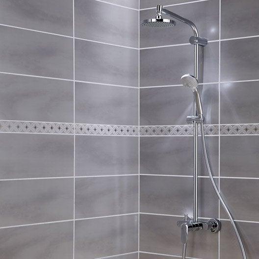 Fa ence mur gris perle brooklyn x cm leroy merlin for Faience salle de bain ton gris
