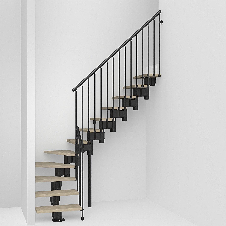 escalier 1 4 tournant bas r vers acier noir long 12. Black Bedroom Furniture Sets. Home Design Ideas