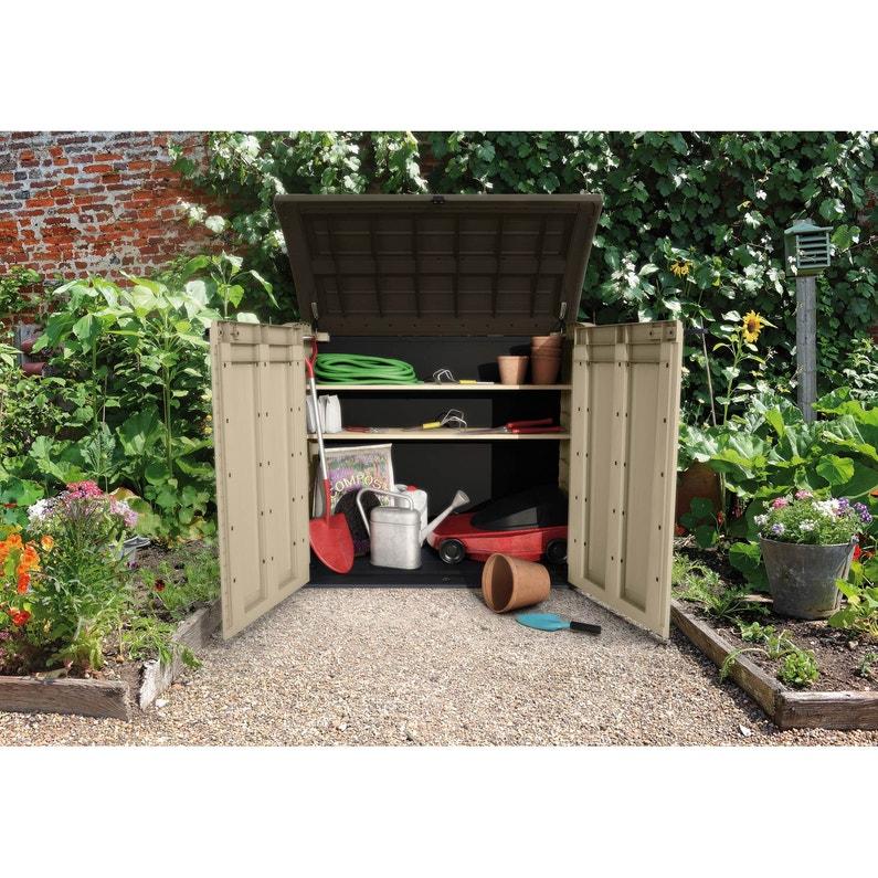 Coffre de jardin résine Store it out 1200l  marron,beige,noir,l.146xH.122xP.83cm