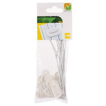 Kit de fixation pour canisse plastique NATERIAL Fixcane 26 past + 26 fils, blanc