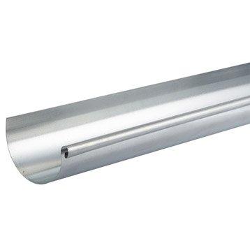 Gouttière demi-ronde acier galvanisé SCOVER PLUS dév.25 cm grise L.4 m
