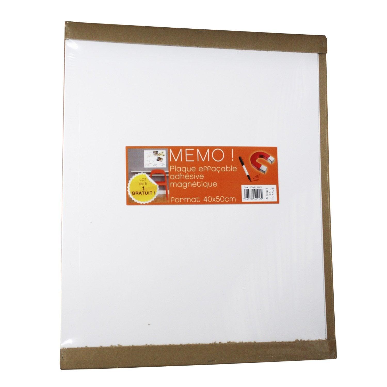 Lot de 6 plaques magn tiques effa ables blanc x - Tableau blanc magnetique leroy merlin ...