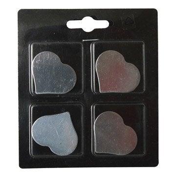Lot de 4 magnets Fantaisie métal coeur, argent l.11 x H.12.5 cm