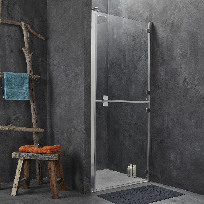 porte de douche pivotante 90 cm transparent double premium2 leroy merlin. Black Bedroom Furniture Sets. Home Design Ideas