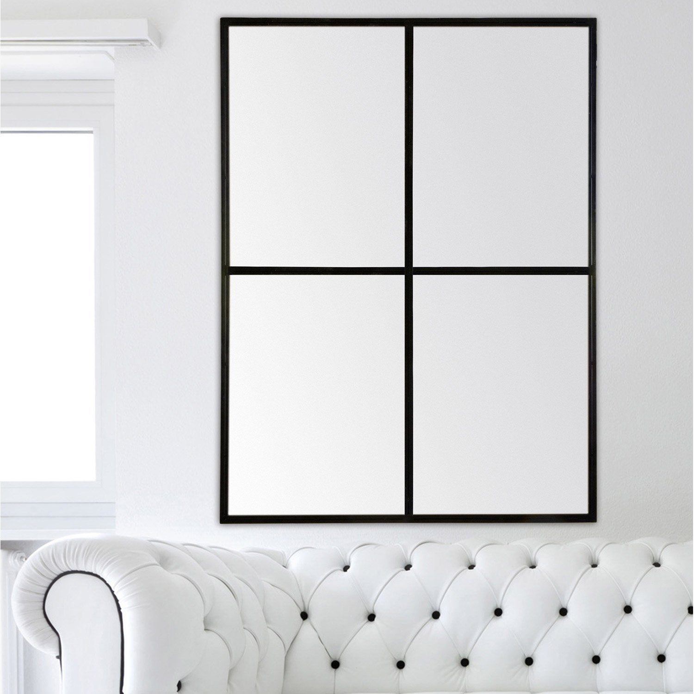 Miroir fen tre noir x cm leroy merlin for Miroir forme fenetre