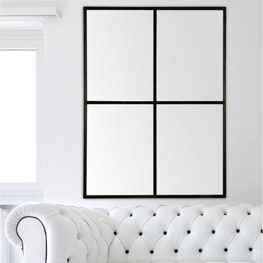 Miroir fen tre noir 90x120 cm leroy merlin for Fenetre 90x125