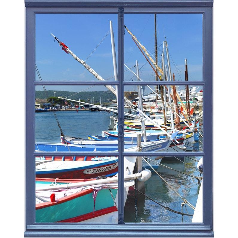 Sticker Trompe Loeil Fenêtre Sur Port 75 Cm X 60 Cm Leroy Merlin