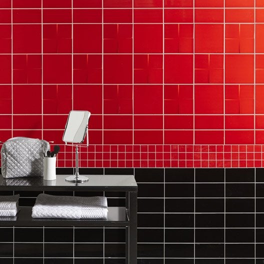 carrelage mural astuce en fa ence rouge rouge n 4 10 x 20 cm leroy merlin. Black Bedroom Furniture Sets. Home Design Ideas