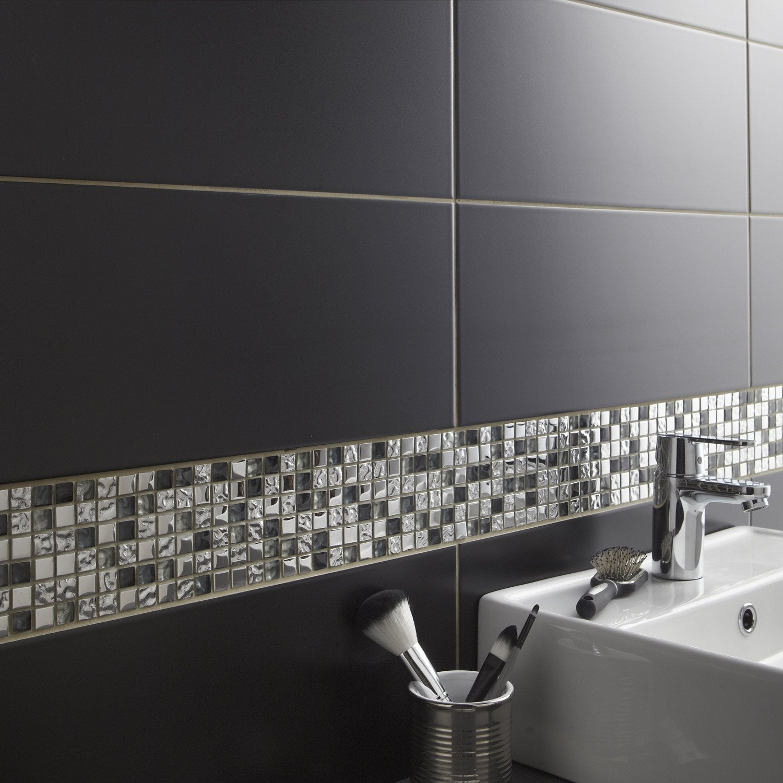faïence mur noir noir n°0, loft l.20 x l.50.2 cm | leroy merlin - Salle De Bain Faience Noire