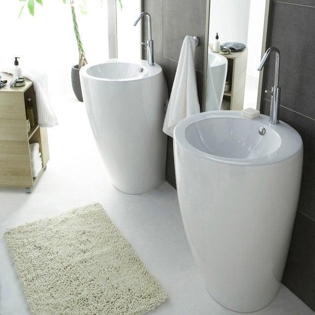 Lavabo colonne en céramique, blanc Icône | Leroy Merlin