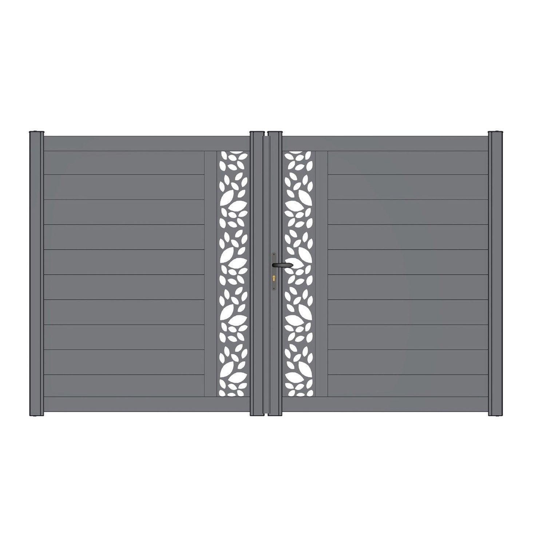 Feuille De Zinc Pour Cuisine portail battant alu décor feuille, mix-it gris zinc naterial, l.299 x  h.170.5 cm