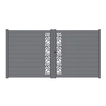 Portail battant aluminium Décor feuille, mix-it gris NATERIAL, l.349xH.170 cm