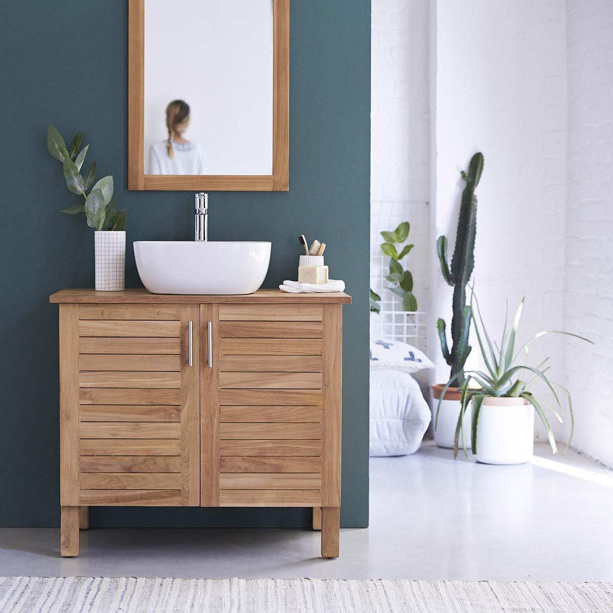 Meuble simple vasque l.16 x H.16 x P.16 cm, teck, Soho