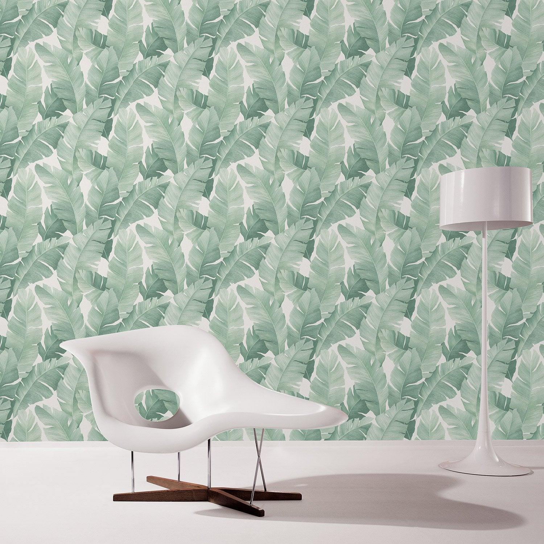 Papier peint vinyle sur intissé Motif Botanical vert et blanc