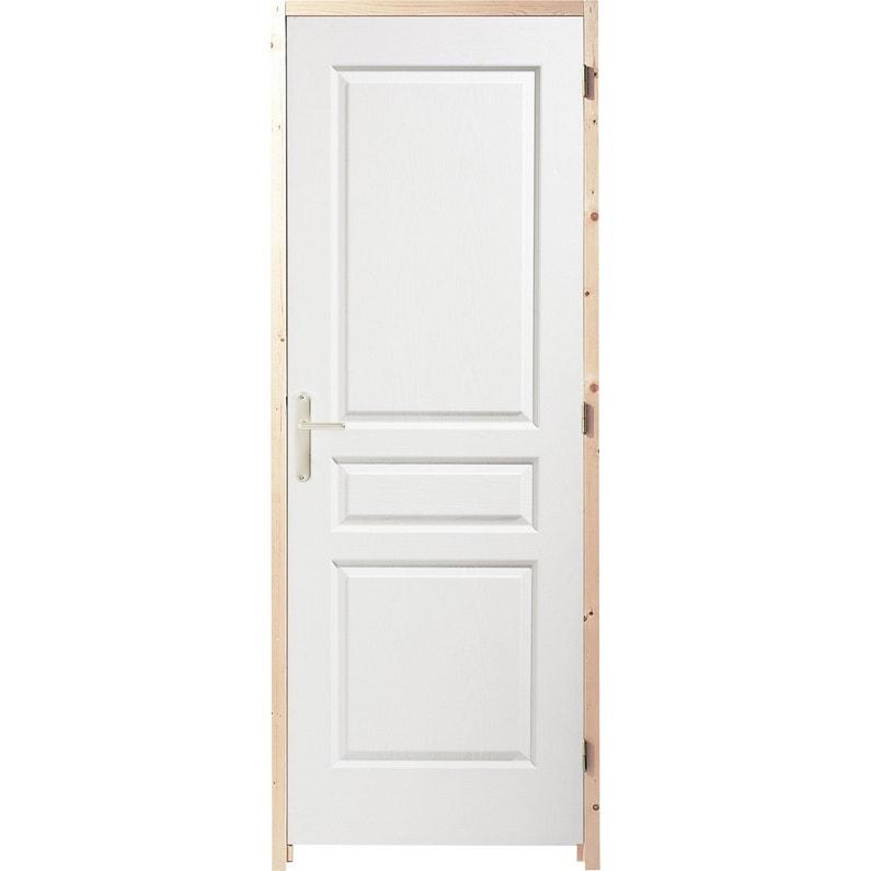 Bloc Porte Postformé Droite Huisserie 65 Mm H204 X L63 Cm Poussant Droit
