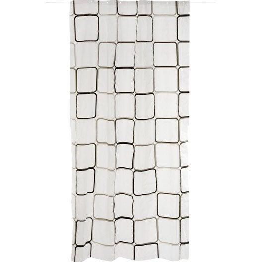 rideau de douche en plastique x cm transparent square sensea leroy merlin. Black Bedroom Furniture Sets. Home Design Ideas