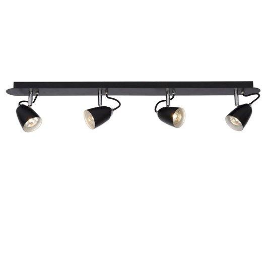 rampe 4 spots gu 10 4x35w noir ride lucide leroy merlin. Black Bedroom Furniture Sets. Home Design Ideas