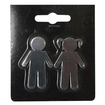 Lot de 2 magnets Fantaisie métal personnage, argent l.8 x H.9 cm