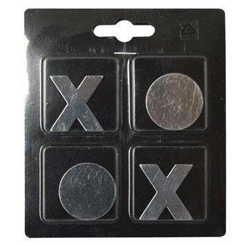 Lot de 4 magnets Fantaisie métal formes, argent l.11 x H.12.5 cm