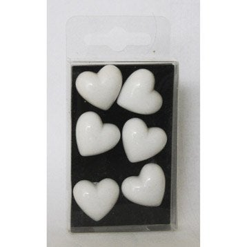 Lot de 6 magnets Fantaisie coeur, blanc l.5 x H.8 cm