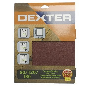 Lot de 10 feuilles abrasives DEXTER, 230 x 280 mm grains 4x120, 3x180, 3x80