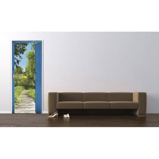 sticker porte hortillonages 83 cm x 204 cm leroy merlin. Black Bedroom Furniture Sets. Home Design Ideas