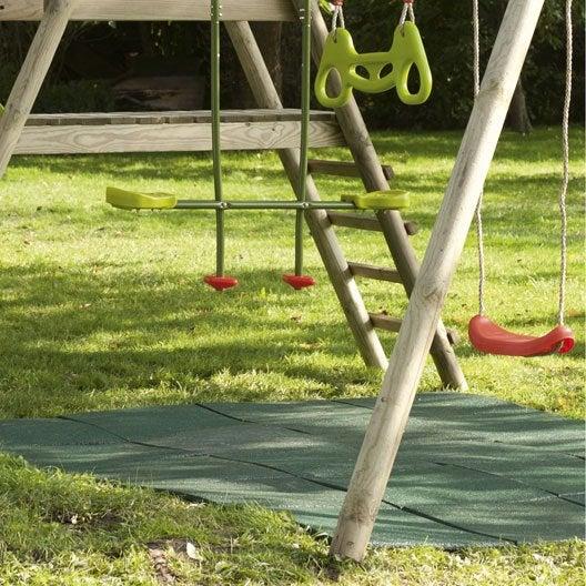 Dalle de sécurité caoutchouc, vert, L.100 x l.100 cm
