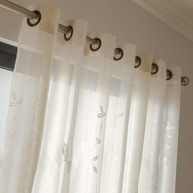 voilage tamisant grande largeur bucolique ivoire. Black Bedroom Furniture Sets. Home Design Ideas