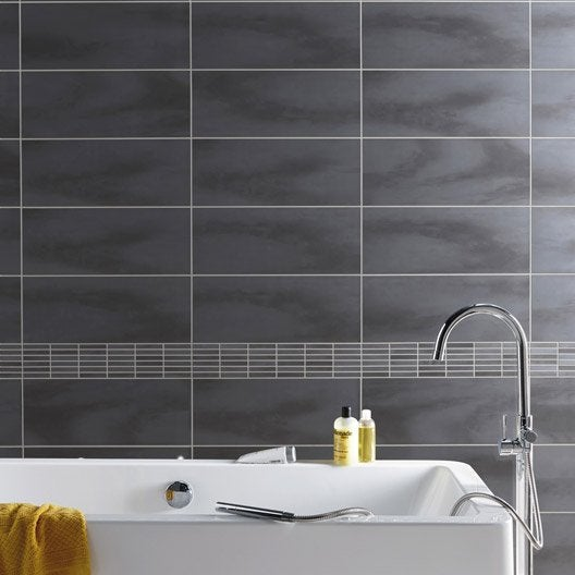Fa ence mur anthracite brooklyn x cm leroy merlin for Cuisine carrelage anthracite