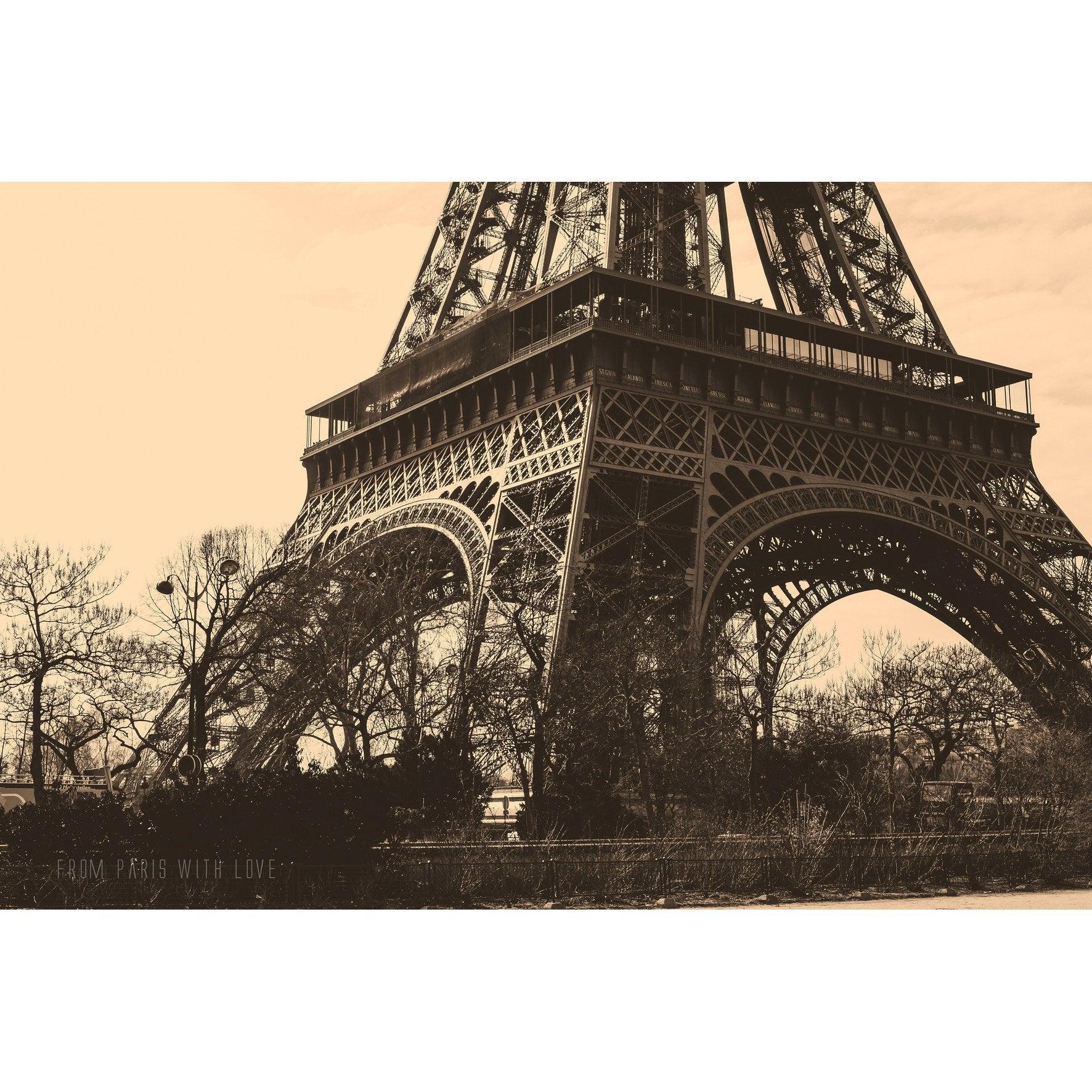 Verre imprimé TOUR EIFFEL, sépia et noir ARTIS l.63.5 x H.43.5 cm