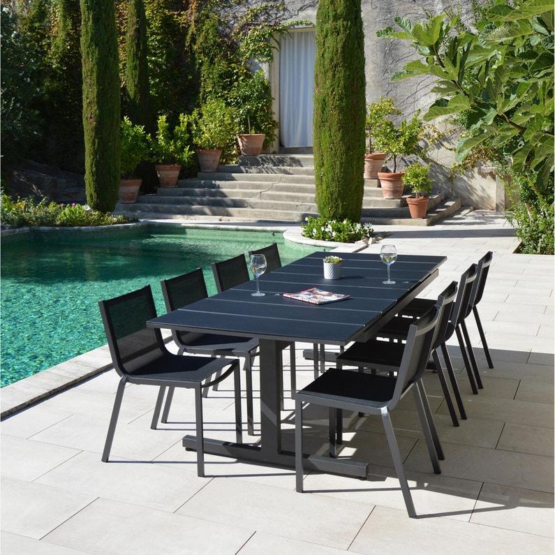 Table De Jardin De Repas Sunrise Rectangulaire Anthracite De 6 A 10 Personnes Leroy Merlin