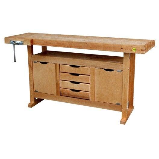Etabli en bois outifrance avec 2 portes 4 tiroirs for Table d occasion en bois
