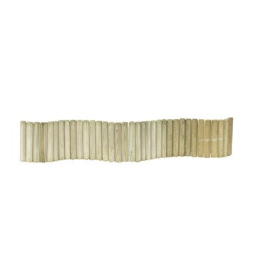 Bordure à planter 1/2 rondin bois naturel, H.30 x L.180 cm