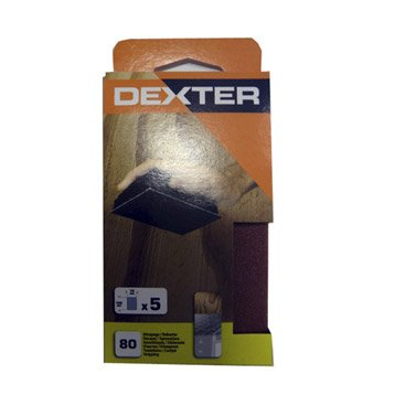 Lot de 5 recharges abrasives DEXTER, 125 x 70 mm grains 80