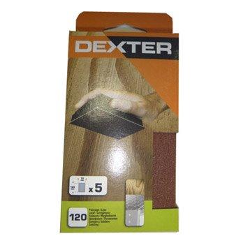 Lot de 5 recharges abrasives DEXTER, 125 x 70 mm grains 120