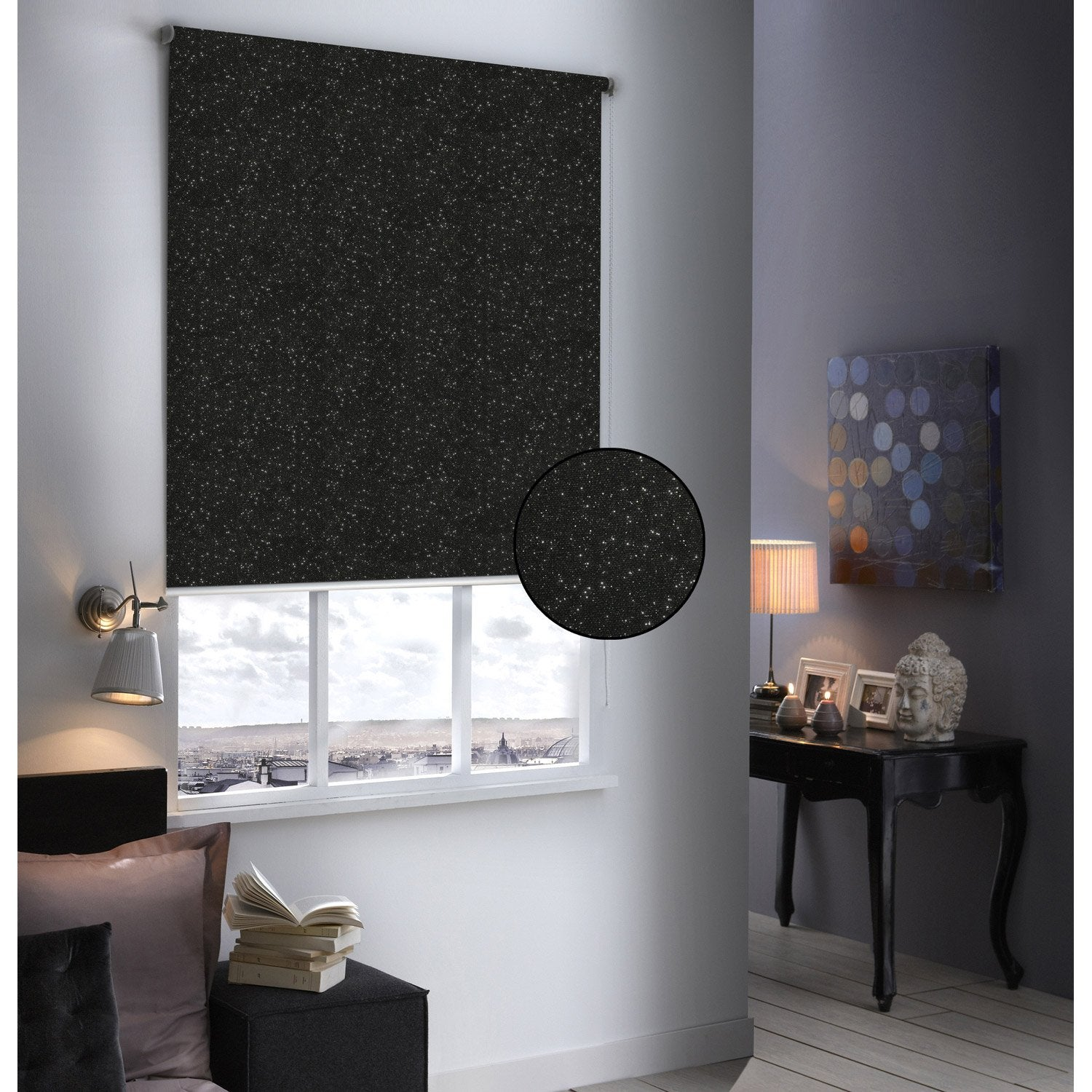 store enrouleur occultant paillettes noir paillet 64x190 cm leroy merlin. Black Bedroom Furniture Sets. Home Design Ideas