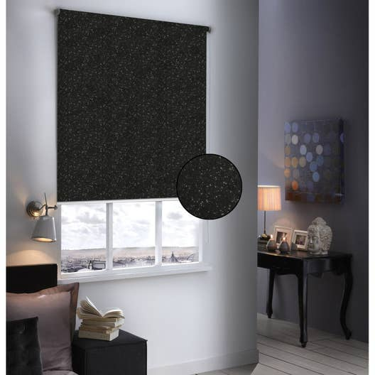 store enrouleur occultant paillettes noir paillet 104x190 cm leroy merlin. Black Bedroom Furniture Sets. Home Design Ideas