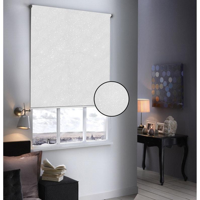 Store Enrouleur Occultant Paillettes Blanc Pailleté 64x190 Cm