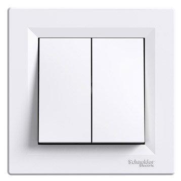 Double interrupteur va-et-vient Asfora, SCHNEIDER ELECTRIC, blanc