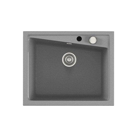 vier encastrer en quartz et r sine kuma 1 cuve gris leroy merlin. Black Bedroom Furniture Sets. Home Design Ideas