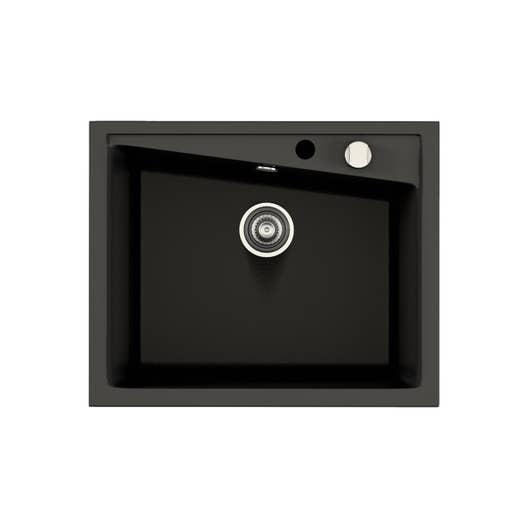 evier encastrer quartz et r sine noir kuma 1 cuve leroy merlin. Black Bedroom Furniture Sets. Home Design Ideas